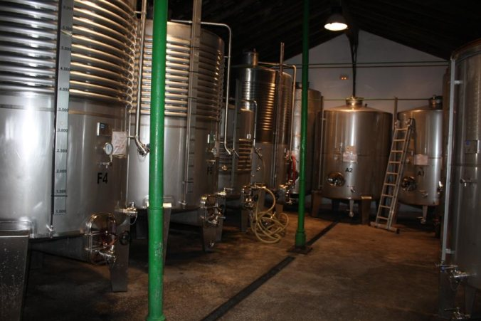 Depositos de diferentes vinos de distintas variedades de uva de Bodegas Cortijo de Jara