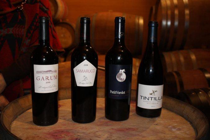 Marcas de vinos tintos de Bodegas Luis Pérez: Garum, Samaruco, Petit Verdot y Tintilla