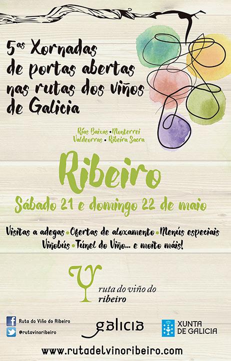 Cartel V Jornadas de Puertas Abiertas de la Ruta do Viño do Ribeiro